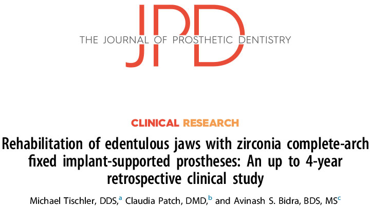 JPD Clinical Research: Rehabilitation of edentulous jaws with zirconia complete-arch fixed implant-supported prostheses: an up to 4-year retrospective clinical study
